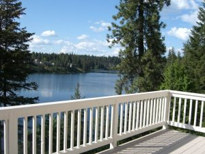 Brilliant Blue Lake View from the Deck